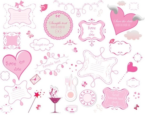 pink romantic elements vector
