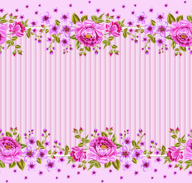 pink roses frame background vector