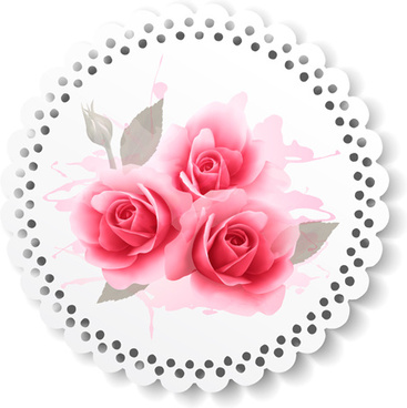 pink roses paper card vector