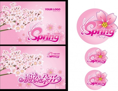 pink spring peach blossoming open hanging flag vector