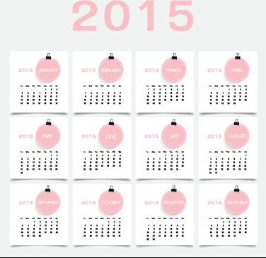 pink style15 calendar design vector