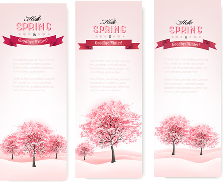 pink style spring trees banners vector graphics