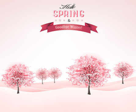 pink style spring trees vector background