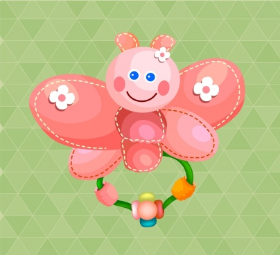 pink toy icon cute stylized butterfly