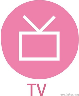 pink tv icon vector
