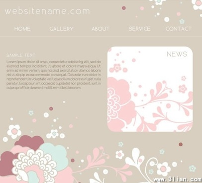 webpage template flowers decor classical design
