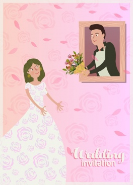 pink wedding card cover template groom bride icons