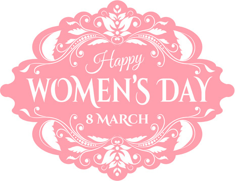 pink womens day label vectors