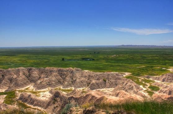 pinnacles and prairie at badlands national park south dakota