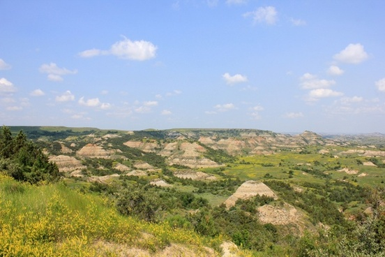 pinnacles in the landscape at theodore roosevelt national park north dakota