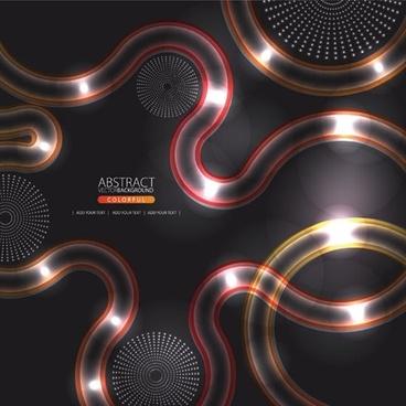 technology background dark shiny light curves circle decor