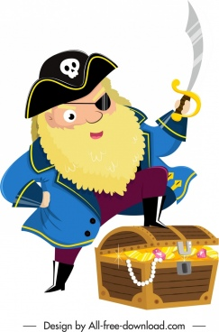 pirate character icon captain treasure sketch cartoon design