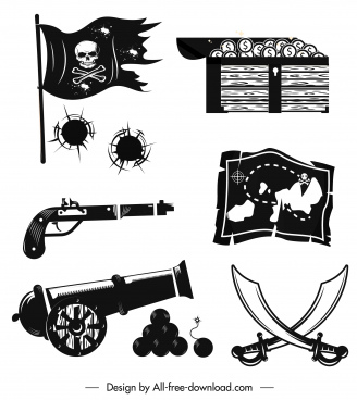 pirate design elements black white retro symbols sketch