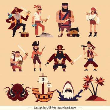 pirate design elements classical emblems sketch