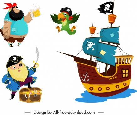 pirate design elements colored cartoon sketch
