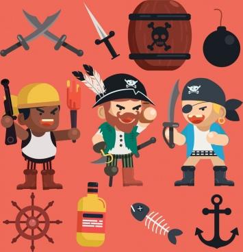 pirate design elements men sword anchor explosive icons
