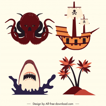 pirate design elements octopus shark ship island sketch