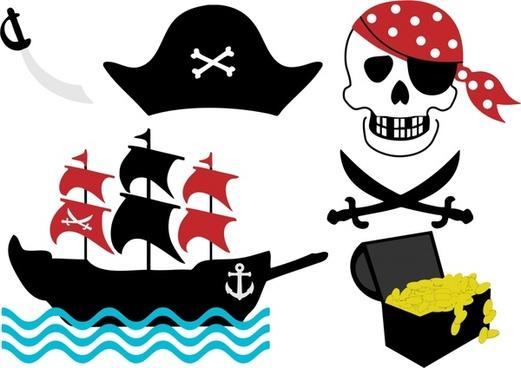 pirate emblems sets vector illustration