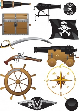 pirate design elements symbol objects icons sketch