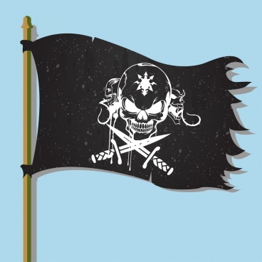 pirate flag icon scary skull design