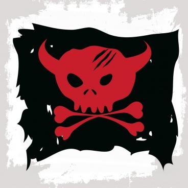 pirate flag template bull skull bone icon decor