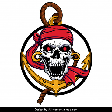 pirate icon frightening skull sketch colorful 3d