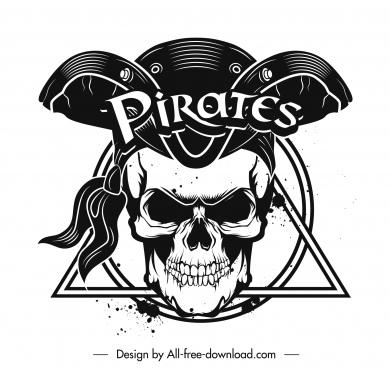 pirate icon horror skull black white grunge design