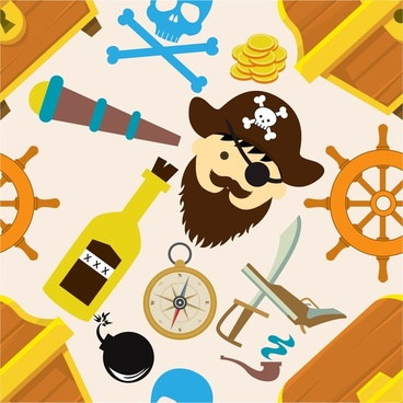 pirate icons design elements with colors symbols