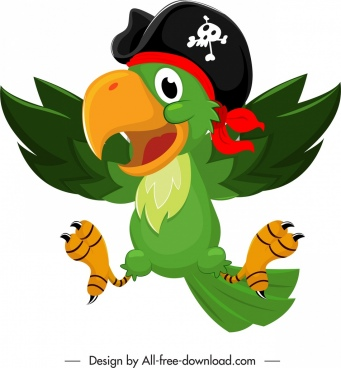 pirate parrot icon colorful funny cartoon sketch