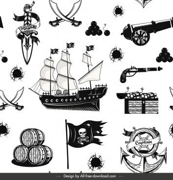 pirate pattern template black white classical symbols sketch