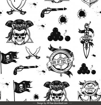 pirate pattern template black white retro emblem sketch