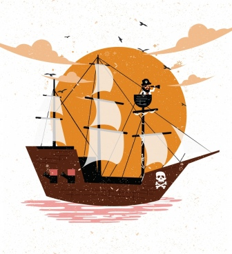 pirate ship drawing colored retro design