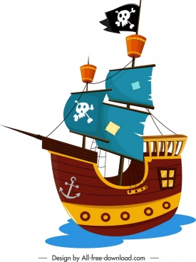 pirate ship icon colorful vintage design