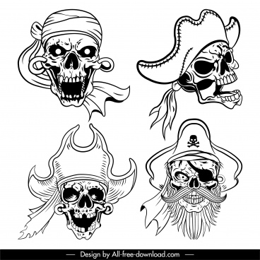 pirate skull icons black white sketch frightening design