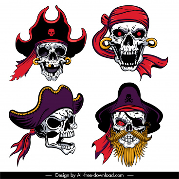 pirate skull icons scary sketch