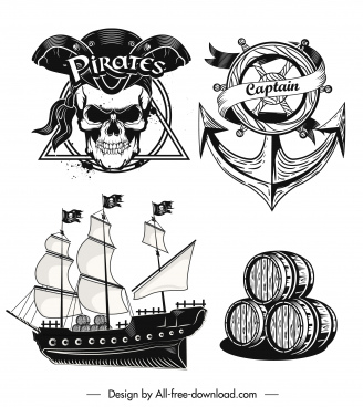 pirates design elements vintage black white design