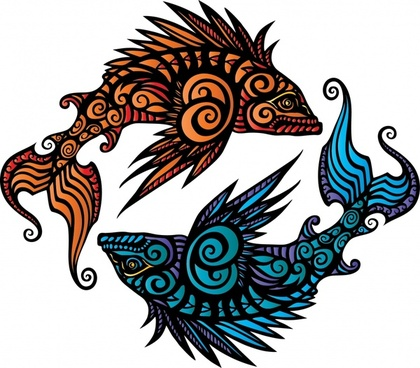 pisces background fishes icons traditional curves ornament