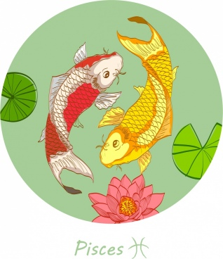 pisces zodiac sign background multicolored fishes icons decor