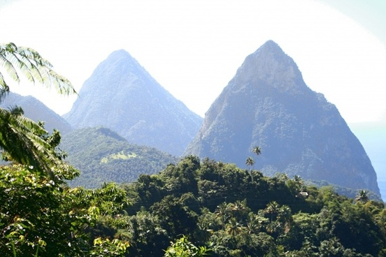 pitons twin pitons caribbean island
