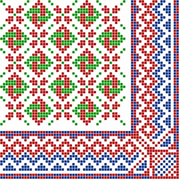 traditional pattern design elements colorful symmetric pixel decor