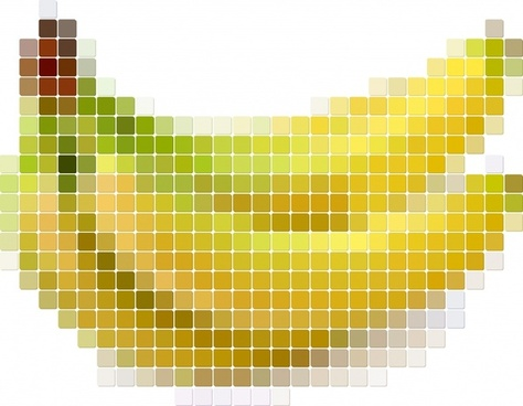 banana background blurred pixel squares decor
