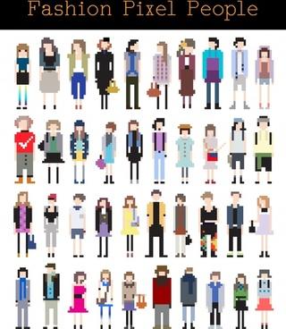 pixel painting vector cartoon characters