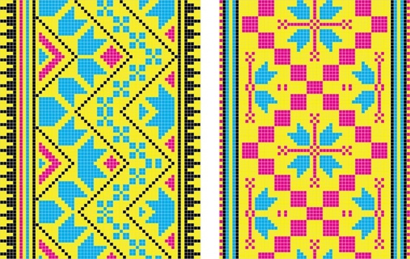 pixel pattern templates flat colorful symmetric decor
