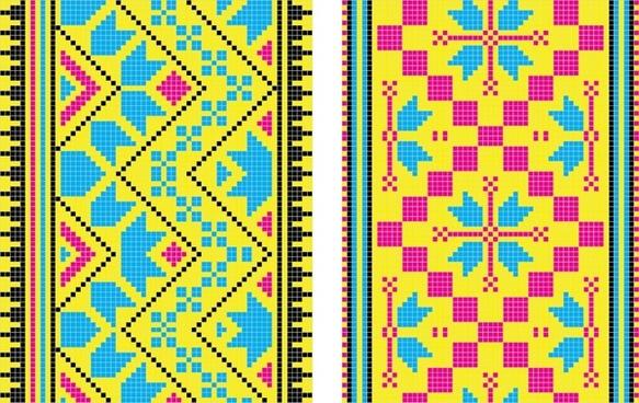 pixel pattern templates flat colorful symmetric decor