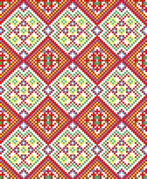 traditional fabric pattern colorful pixel decor symmetric design