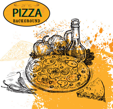 pizza background hand drawn vectors