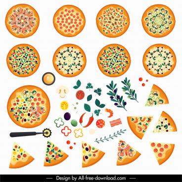 pizza design elements colorful flat design