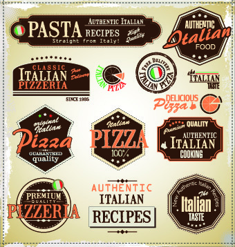 pizza labels vector set