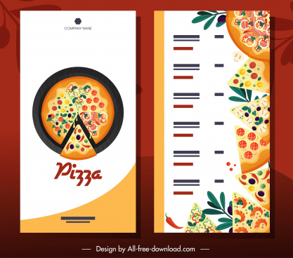 pizza menu template bright colorful flat decor