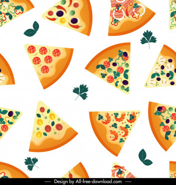 pizza pattern colorful repeating flat decor pieces sketch